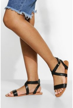 Black Wide Fit Crossover Sandal