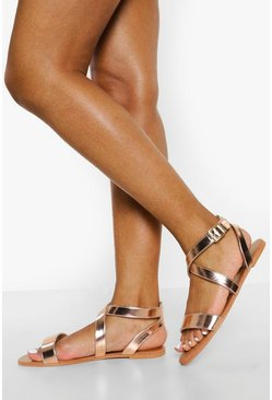 Rose gold metallic Wide Fit Crossover Sandal