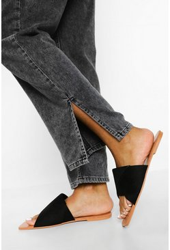Black Wide Fit Basic Mule