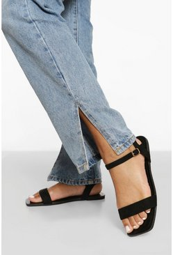 Black Wide Fit Square Toe 2 Part Sandal