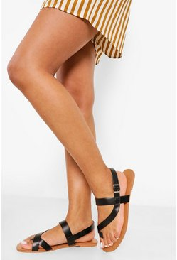 Black Wide Fit Asymmetric Strap Sandal