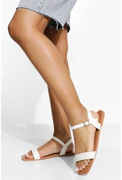 White Wide Fit Square Toe Croc 2 Part Sandal