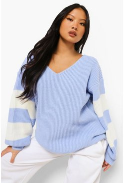 Sky blue Petite V Neck Stripe Jumper