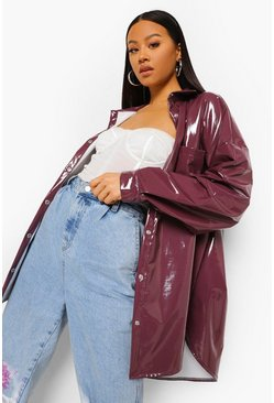 Chocolate brown Patent Oversized Trucker Jacket