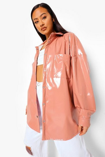 Rose pink Patent Oversized Trucker Jacket