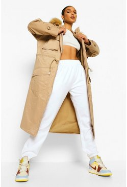Stone beige Faux Fur Trim Pocket Detail Parka