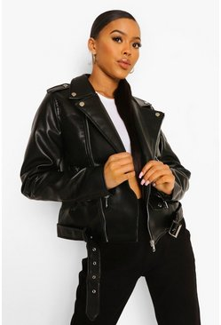 Black Pocket Detail Faux Leather Biker Jacket