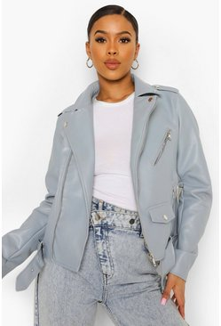 Blue Pocket Detail Faux Leather Biker Jacket