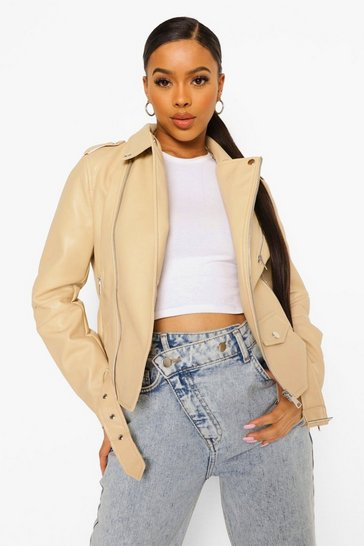 Stone beige Pocket Detail Faux Leather Biker Jacket