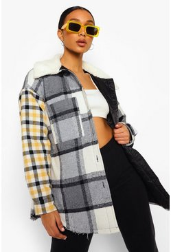 Grey Contrast Check Borg Collar Shacket