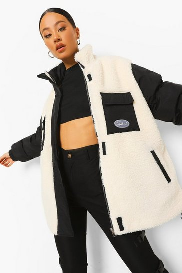 Cream white Teddy Mix Pocket Detail Puffer Jacket