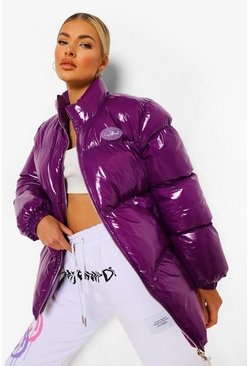Purple High Shine Funnel Neck Puffer Jacket
