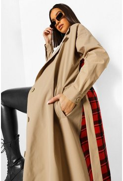 Stone beige Check Back Belted Trench Coat