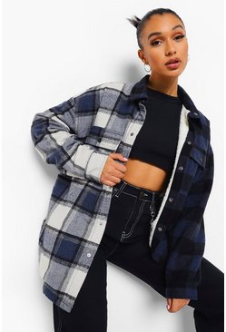 Blue Borg Lined Spliced Check Shacket