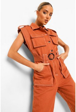Rust orange Contrast Stitch Utility Denim Jumpsuit