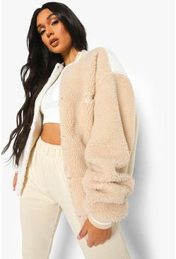 Spliced Teddy Faux Fur Varsity Bomber Jacket, Stone beige