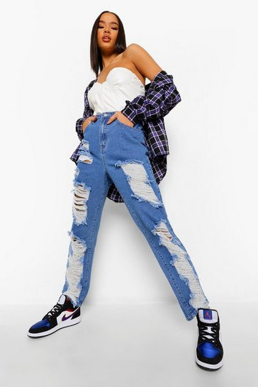 Mid blue blue High Waisted Extreme Rip Straight Leg Jean