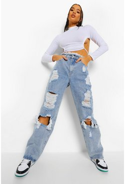 Light blue blue Fray Waistband Distressed Boyfriend Jean