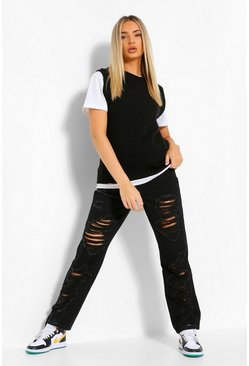 Black High Waisted Extreme Rip Straight Leg Jean
