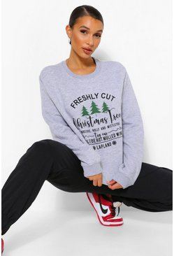 Grey marl grey Christmas Tree Sweatshirt