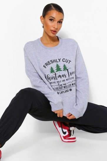 Grey marl grey Grey Christmas Tree Sweatshirt