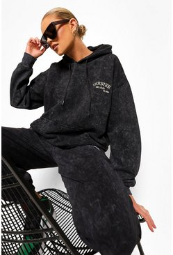 Charcoal grey Acid Wash Embroidered Hoodie