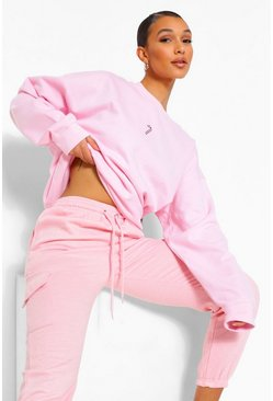 Pale pink pink Oversized Candy Cane Embroidered Sweatshirt