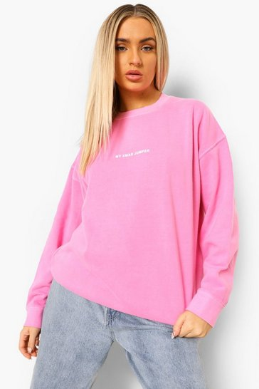Bright pink pink Oversized Washed Christmas Sweatshirts