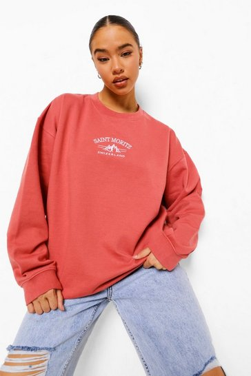 Antique rose pink Embroidered Saint Moritz Sweatshirt