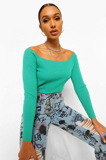 Green Fine Knit Square Neck Jumper