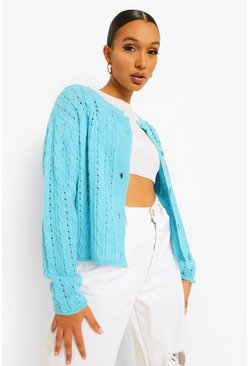 Aqua blue Cable Knit Crop Cardigan