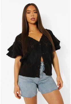 Black Pointelle Ruffle Sleeve Cardigan