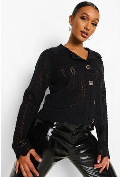 Black Pointelle Stitch Collar Cardigan