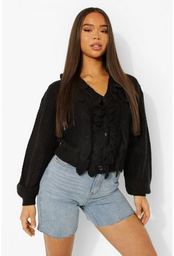 Black Ruffle Detail Balloon Sleeve Cardigan