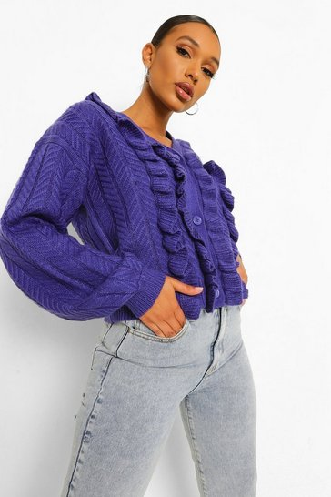 Electric purple pink Ruffle Detail Balloon Sleeve Cardigan