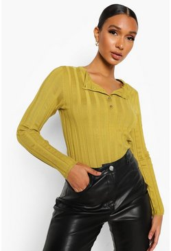 Olive green Button Through Crew Neck Rib Knit Jumper