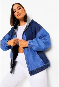 Blue Colour Block Denim Bomber Jacket