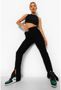 Black Cord Split Hem Straight Leg Trousers