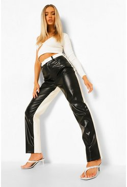 Mono multi Leather Look Colour Block Cigarette Trousers