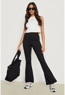 Black Wide Ribbed Basic Flares
