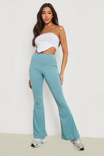 Teal green Wide Ribbed Basic Flares