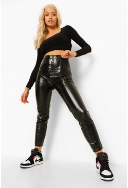 Black Leather Look Popper Fastening Skinny Trousers