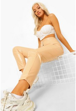 Nude Leather Look Popper Fastening Skinny Trousers