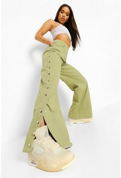 Light khaki khaki Woven Eyelet Detail Wide Leg Pants