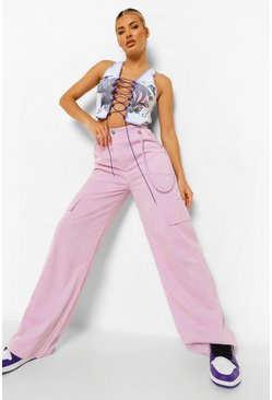 Pale lilac purple Cord Wide Leg Utility Trousers