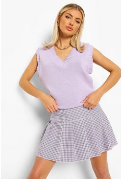 Lilac purple Check Pleated Tennis Skirt