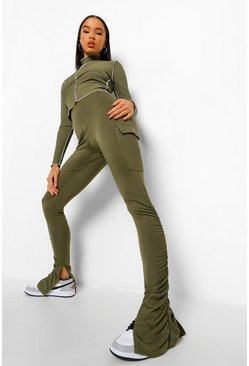 Khaki Cargo Utility Pocket Ruched Split Hem Legging