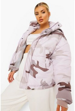 Stone beige Tonal Camo Hooded Crop Puffer Jacket