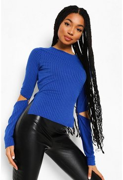 Cobalt blue Cut Out Elbow Dip Hem Rib Knit Top