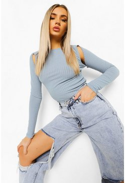 Washed blue blue Cut Out Shoulder Rib Knit Top